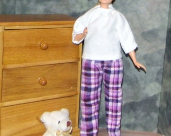 CBPJ1-01) the NEW Curvy Barbie doll clothes, 1 flannel pajama set