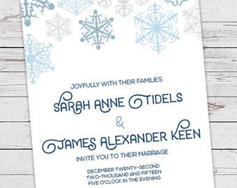 Printable Wedding Invitation Set - Invite, RSVP Card, Info Card - Snowflakes