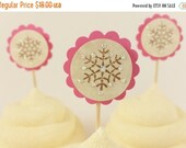 SALE Pink Snowflake Cupcake Toppers Christmas or Girls Birthday Party Set of 24