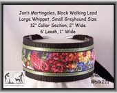 Jansmartigales  Black Large Whippet, Small Greyhound, Martingale Collar Leash Combination  wblk221