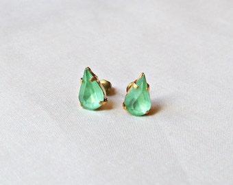 Peridot Green Earrings Ear Studs Vintage Glass Teardrop Pear Glam It Up Jewellery dspdavey Jewelry Cute Small Bridesmaid Handmade Mint