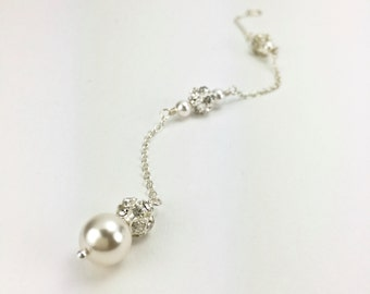 Sparkly Backdrop Pearl Backdrop Necklace ATTACHMENT Back Drop Backless Necklace Back Jewelry Detachable Backdrop Drop Back Necklace Hannah