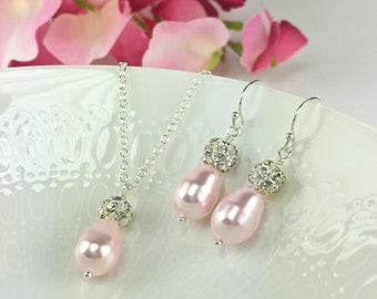 Light Pink Prom Jewelry Sparkly Pink Necklace Pink Earring Blush Pink Teardrop Pearl Rhinestone Rosaline Pearl Valentines Day Gift Rachel