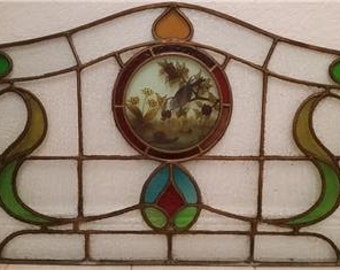 """Vintage Multicolor Bird & Floral Design Stained Glass Panel Insert 42"""" W x 25"""" H"""