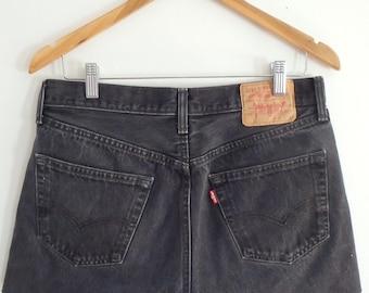 Levis 501 Shorts Vintage Black Button Fly