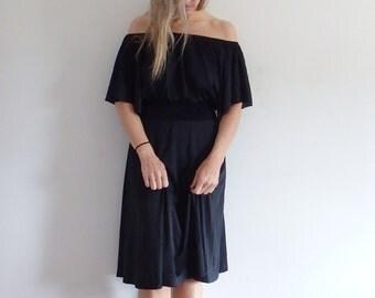 Off The Shoulder Dress Vintage Black