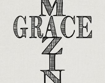 Amazing Grace Scripture Typography Art Print INSTANT DOWNLOAD Printable 8x10