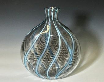 John Gibbons Glass Vase, Hand blown glass vessel black and aqua, home decor