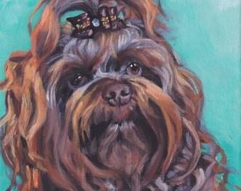 "Russian bolonka dog portait art CANVAS PRINT of LAShepard painting 12x12"""