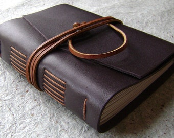 """Leather Journal, lined pages, approx. 4""""x 6"""", dark brown, handmade rustic journal(1744)"""
