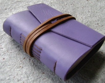 "Pocket Journal 3""x 4"", lavender, handmade leather journal by Dancing Grey Studio  (20950"
