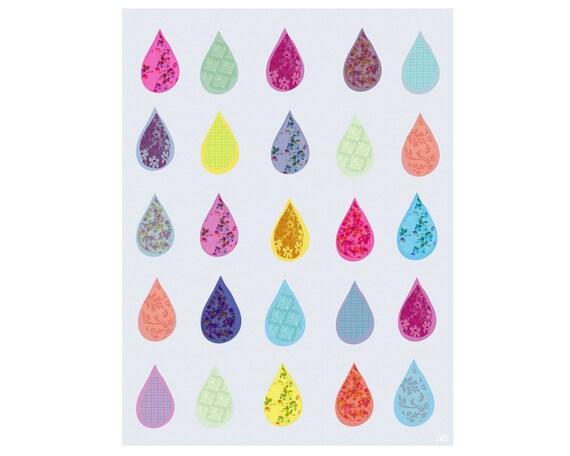 Nursery Art Print Happy tears, Children's Kid's Room Wall Decor, Nursery wall decor, Whimsical Art Print / Rain drop illustration