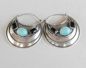 Large Silver sterling Amazonite black Onyx Hoop Earrings / 1.50 inch / silver 925 / Handmade Bali jewelry / (#720m)