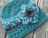Alpaca Hat with Flower, Hand Crocheted, Ready to Ship