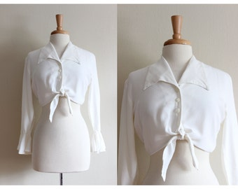 Vintage White Tie Front Crop Top