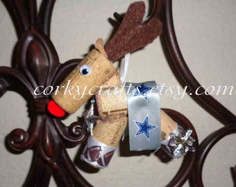 Dallas Cowboys reindeer ornament/gift tag/tree ornament/bottle tag