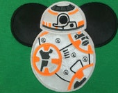 STAR WARS Movie Mr. Mouse ear BB-8 appliqued on a unisex short sleeved t-shirt children and adult sizes