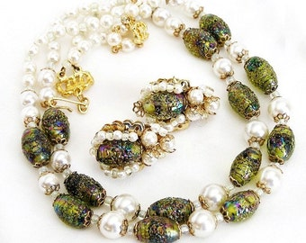 Hobe Incredible Art Glass and Pearl Demi Parure, Hobe Necklace and Earring Set