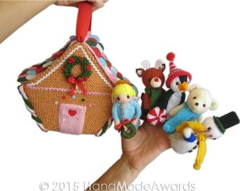 Christmas Gingerbread House Finger Puppets Pdf Email Knit PATTERN