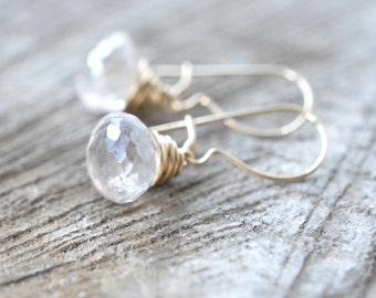 Topaz Earrings, Champagne Topaz, Grey, Gold Filled, Dangle Earrings, Petite Dainty Wire Wrapped Briolette