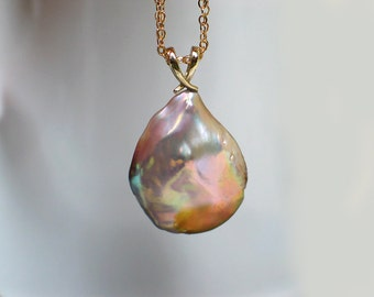 Baroque Teardrop Pearl in 14k Solid Gold Pendant | Natural Mauve Rose Champagne Freshwater Drop | One of a Kind | Gift | Ready to Ship