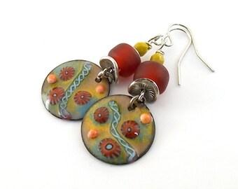 Red and Yellow Soutwestern Murrini Enameled Earrings - Silver Earrings - Yellow Earrings - Artisan Earrings - Boho Earrings - Red - AE171