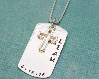 Personalized Boys Confirmation Necklace or First Communion Necklace, Personalized Dog Tag Cross Necklace, Hand Stamped Jewelry