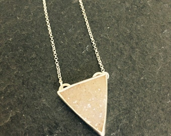 Triangle Chalcedony Druzy & Sterling Silver Pendant