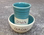 CUSTOM LISTING for Maggie, Kids pottery, children's cup, children's bowl