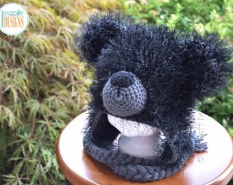 SALE - Furry Black Bear READY to SHIP Handmade Crochet Hat for Child Size