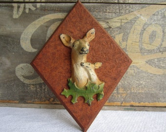 Vintage Deer Fawn and Doe Rustic Wall Hanging Woodland Decor