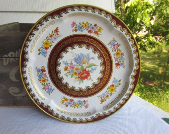 Vintage Floral Tin Round Platter Raised Center Burgundy Gold