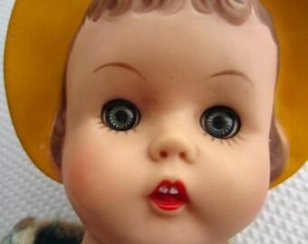 Vintage Sleepy Eye Rubber Doll Yellow Bonnet