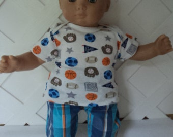 Bitty Baby Boy 2 pc. cute Sports  outfit,  pants set, doll clothes