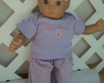 Doll Clothes,  Bitty Baby Girl Lavender  3 pc Pants  outfit  with headband and Leggings