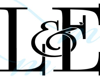 SALE - Intertwining Ampersand Monogram - L&E (instant download - jpg, psd, pdf)
