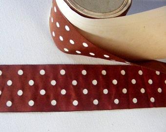 Vintage French Silk Ribbon 2 3/16 Inch Gorgeous Chestnut Brown Polka Dot