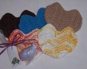 Set of Five Heart Face Scrubs/Washcloths