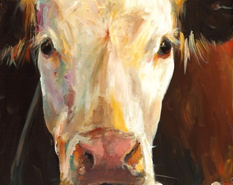Cow Painting - Gladys - Giclee Print of an Original Painting by Cari Humphry 16x20