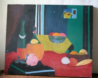 Vintage  Still Life Painting on Board Signed SALE