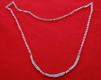 "Vintage silver tone 18"" necklace with sparkling clear rhinestones  in great condition, appears unworn"