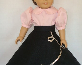 """18"""" Doll Clothes/Poodle skirt, shirt, and hairtie/3 piece set/READY TO SHIP/Fits 18 inch  Girl Doll"""