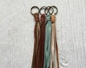 Fringe tassel keychain, Vegan tassel, Brown