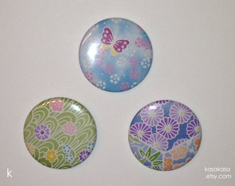 Spring Origami Button / Magnet Set of 3