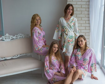 Premium Lilac Bridesmaids Robes - Dreamy Angel Song Pattern - Soft Rayon Fabric - Better Design - Perfect for getting ready on your big day