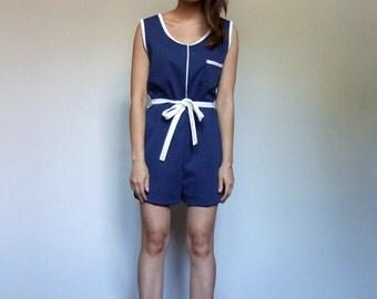 Summer Jumpsuit Womens Vintage One Piece Navy White 70s Playsuit 1970s Jumpsuit - Large L