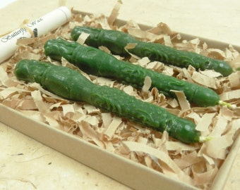 Natural Sealing Wax 3 sticks GREEN color with wick for stamps Traditional mold