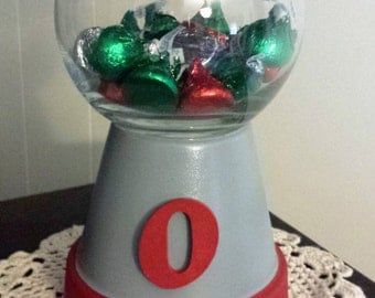 Team Spirit Gray and Red Flower Pot Candy Dish