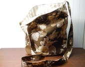 Cotton fabric Tote bag - Shoulder bag - hobo bag - market bag - crossbody bag - brown tote bag - lightweight tote - floral tote
