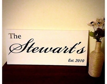 Family Last Name Established Signage - Large Custom Wooden Surname Sign - Married Home Decor - Engaged, Newlywed, Wedding, Anniversary Gift